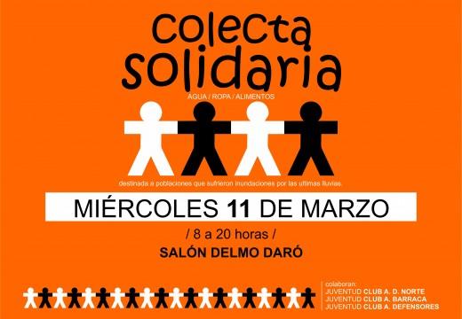 Miércoles 11, gran colecta en el salón Delmo Daró.