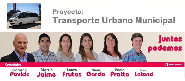 """Gerardo Pavicic junto a su lista de """"Juntos Podemos"""" nos contaron una de sus propuestas: El Transporte Urbano Municipal."""