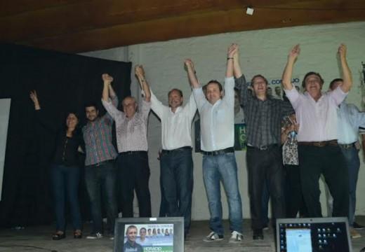 Marcos Cleri con Diego Mansilla, Omar Perotti, Héctor Cavallero, Alejandra Fedele y Guillermo Cornaglia en la región.