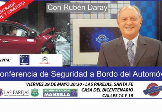 Las Parejas. Charla de seguridad vial a cargo de Rubén Daray en casa del Bicentenario.