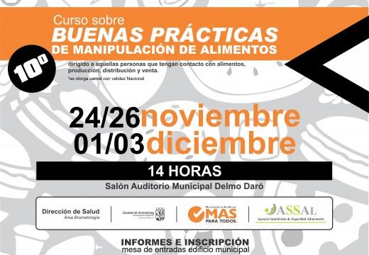 Curso de buenas prácticas de manipulación de alimentos Noviembre 2015.