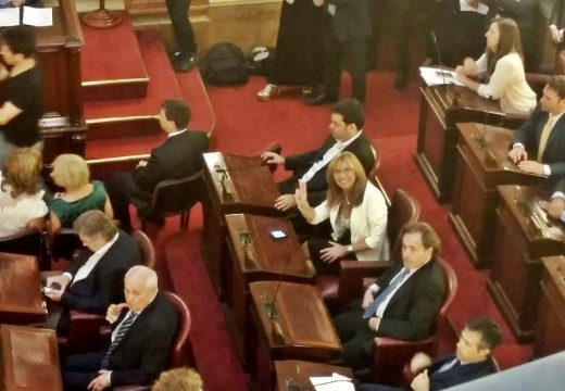 Giaccone asistio a la asamblea legislativa donde asumio el gobernador Miguel Lifschitz.