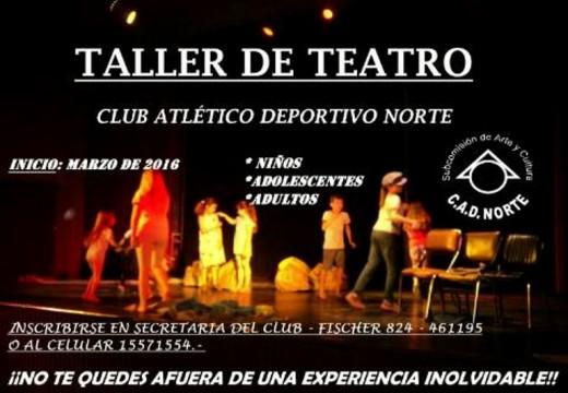 Comienza el Taller de Teatro en el Club Norte.
