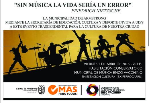 Inicia sus actividades el Conservatorio Municipal de Música.