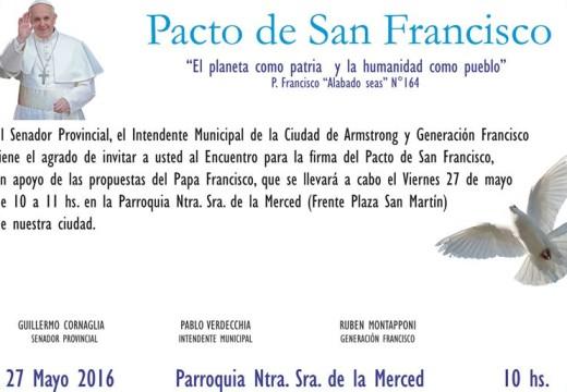 Se realizará el Encuentro para la firma del Pacto de San Francisco en Armstrong.