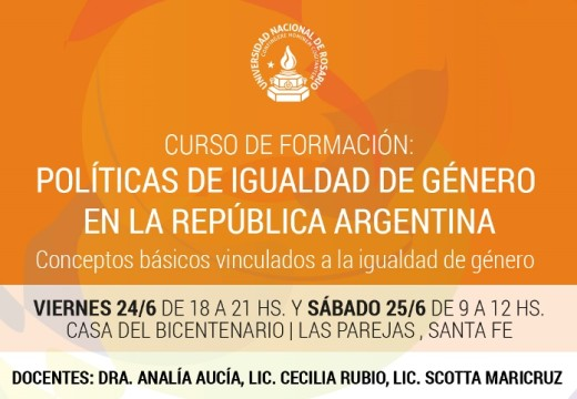 """Curso de formación """"Políticas de igualdad de género en la República Argentina""""."""