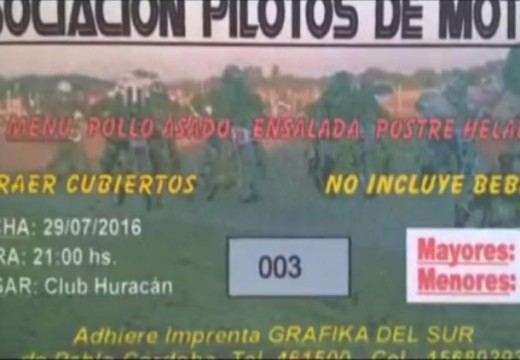 Asociación Pilotos de Motos invitan a Peña en el Club Huracán.