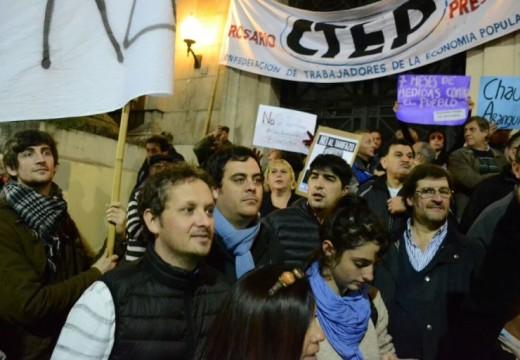 Diego Mansilla, Germán Bacarella y Matías Fernández en el ruidazo en Rosario.