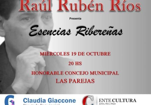"""Las Parejas: Raúl Ríos presentará su libro de poesías """"Esencias Ribereñas"""""""