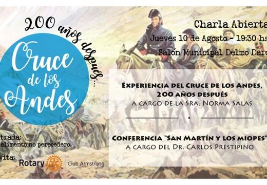 Rotary Club Armstrong invita a charla «Cruce de los Andes, 200 años despues».