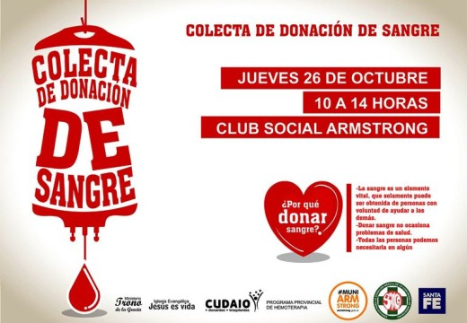 """Armstrong. Jornada """"Colecta de Donación de Sangre""""."""