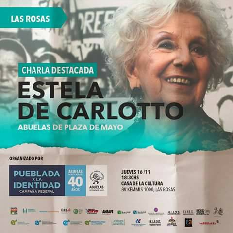 Estela de Carlotto visitará la localidad de Las Rosas.