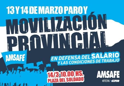 Plan de lucha de AMSAFE. Paro de 48 horas con movilización Provincial.