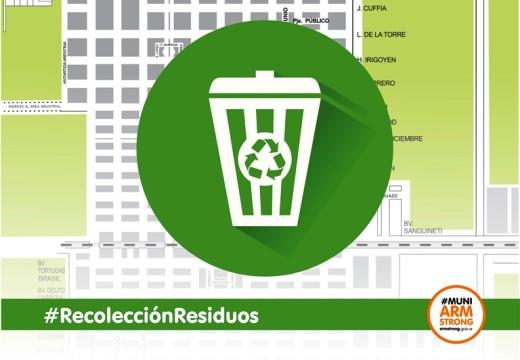 El lunes 20 de agosto no habrá recolección de residuos.