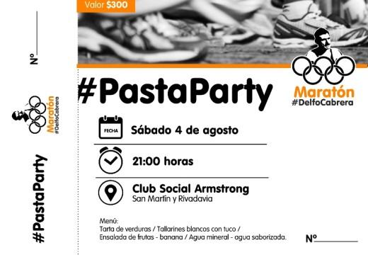 Armstrong. Cena Pasta Party Maratón Delfo Cabrera.