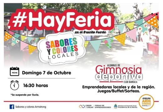 Armstrong. Domingo 7 de Octubre hay Feria.