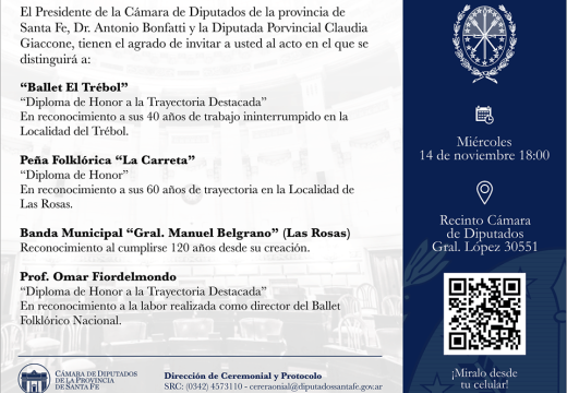 Peña La Carreta y Banda Municipal de Las Rosas recibirán un reconocimiento.