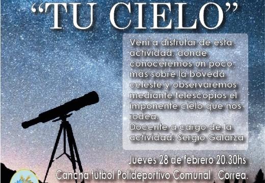 """""""Tu Cielo"""": charla y observación astronómica en Correa."""