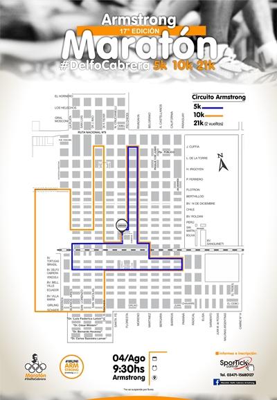 17° edición del maratón Delfo Cabrera,mapa con el circuito a recorrer.