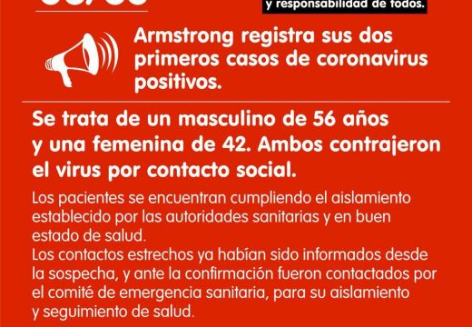 Armstrong registra sus dos primeros casos de coronavirus positivo