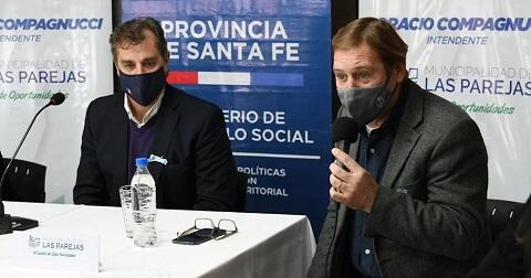 Cornaglia y Capitani firmaron convenios por servicios locales de niñez y refuerzo alimentario.