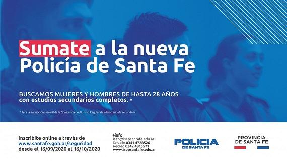 La provincia abre la inscripción para ingresar a la nueva policía de Santa Fe.