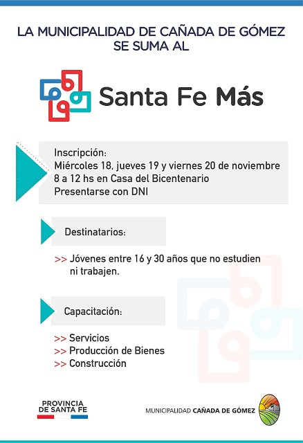 La Municipalidad de Cañada de Gómez se suma al Santa Fe Mas.
