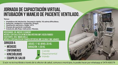 Jornada de capacitación virtual: Intubación y manejo de paciente ventilado.