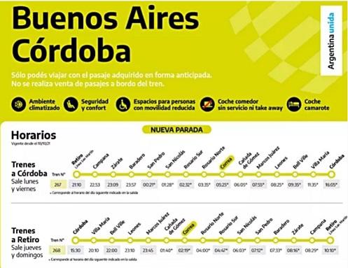 El tren Buenos Aires-Córdoba parará en Correa.